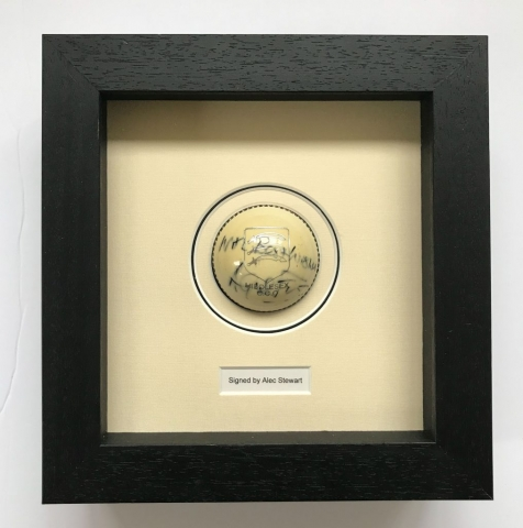 Signed Cricket Ball | Framed by Jules Sainter at Lovingly Framed