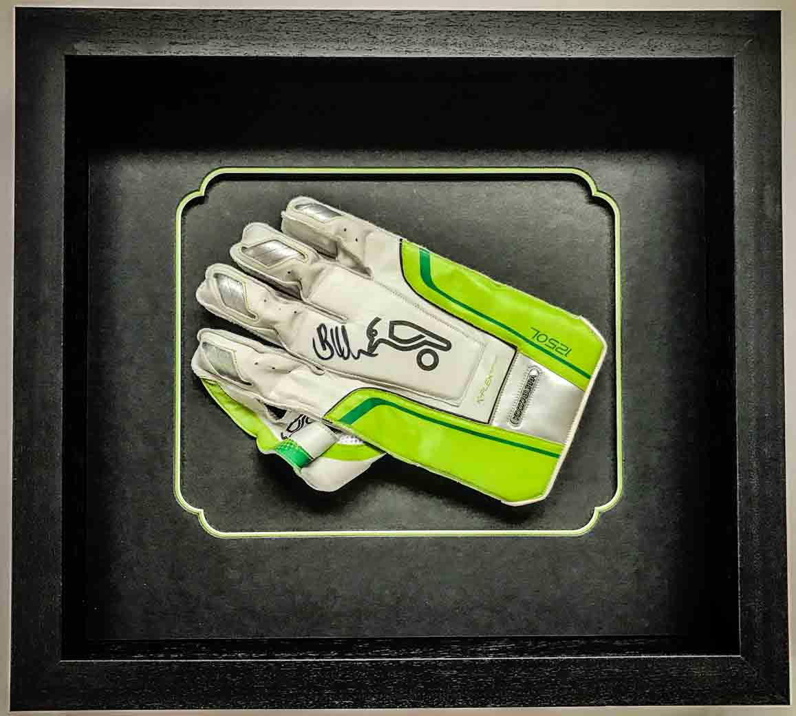 Signed Wicket Keeper's Glove | Framed by Jules Sainter of Lovingly Framed