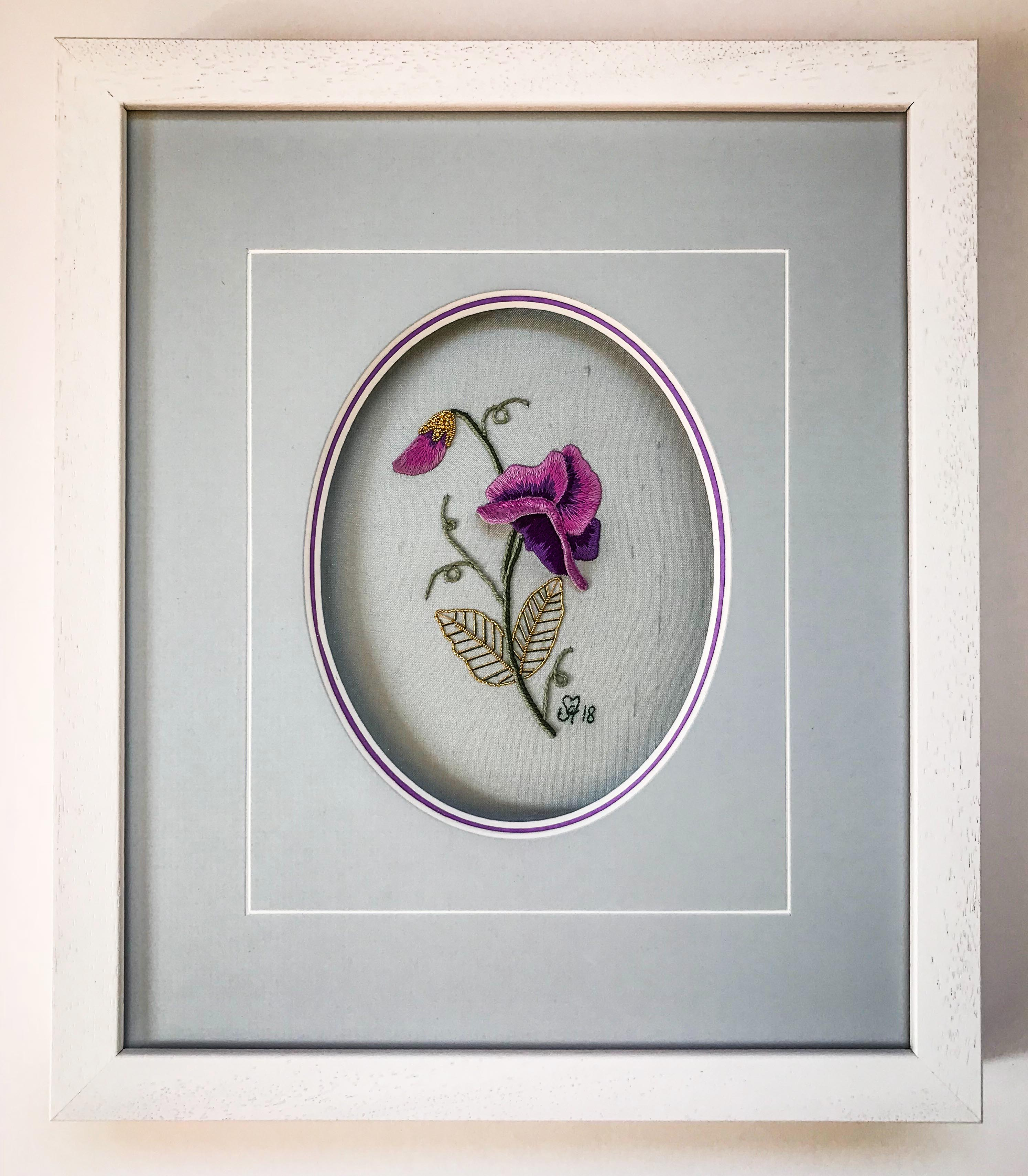 Embroidered Flower | Framed by Jules Sainter at Lovingly Framed