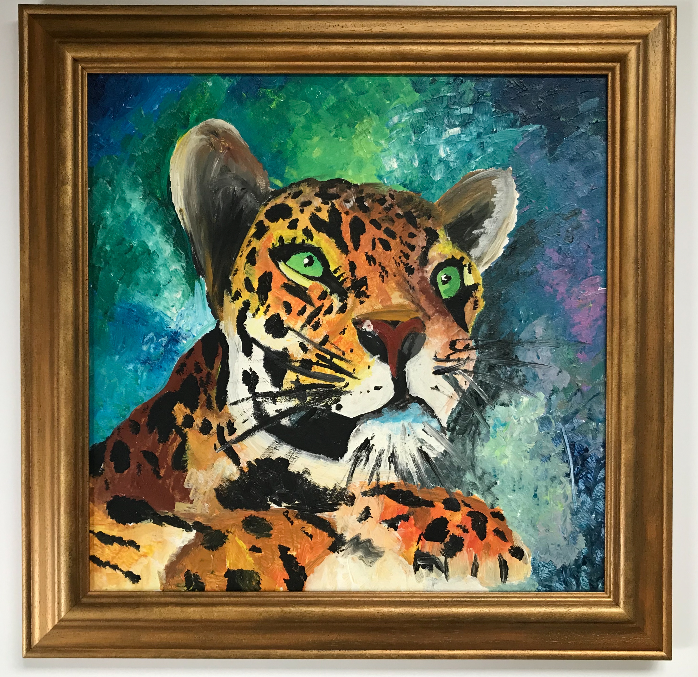 Leopard with hand painted gold frame | Framed by Jules Sainter of Lovingly Framed