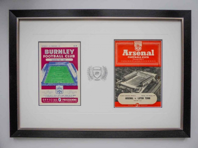 Framed Arsenal Programmes | Lovingly Framed by Jules Sainter