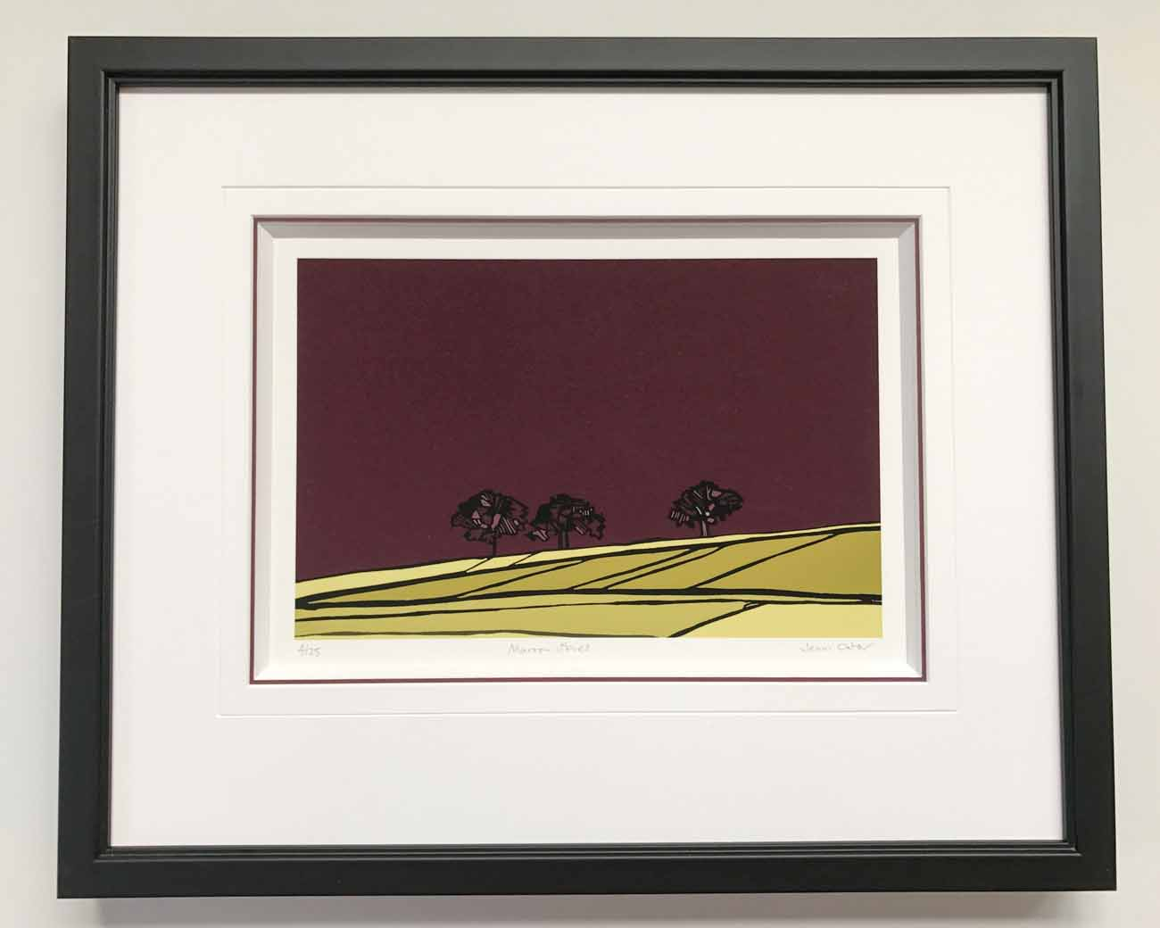 Lino cut picture by Jenni Cator | Framed by Jules Sainter at Lovingly Framed
