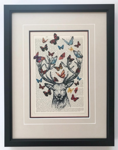 Butterflies and Stag | Creatively Framed by Jules Sainter
