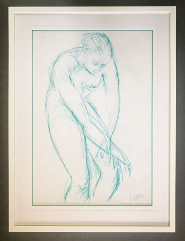Nude in turquoise by Jane Waller | Framed by Jules Sainter of Lovingly Framed