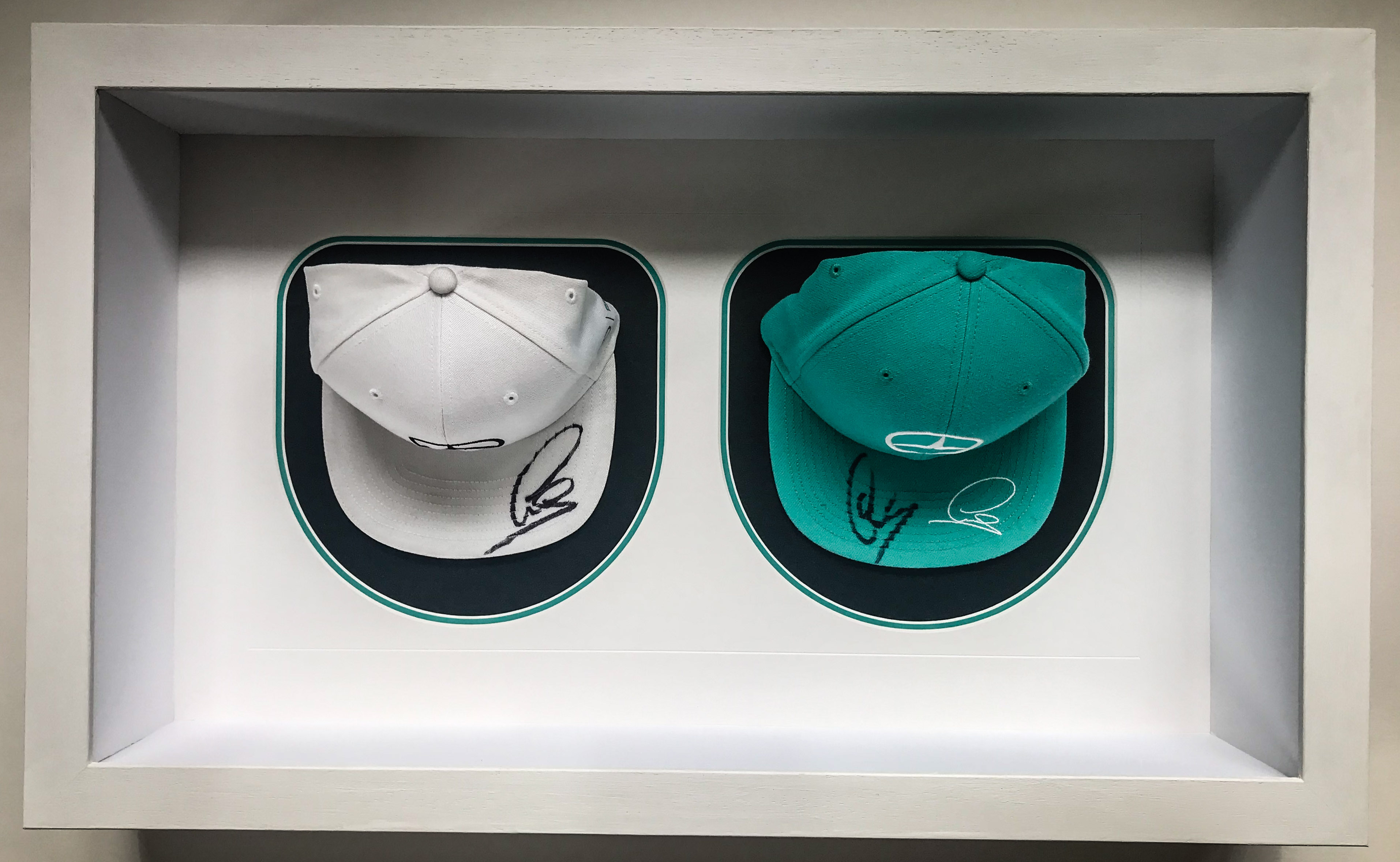 Signed Lewis Hamilton caps | Framed by Jules Sainter of Lovingly Framed